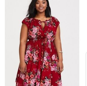 Red floral challis dress